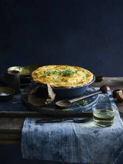Chicken pie with glass of white wine - ISF22823