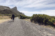Back view of businessman walking barefoot on country road, Cape Point, Western Cape, South Africa - MCF00350