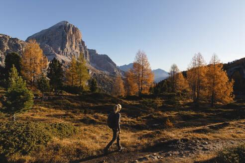 Female hiker hiking at Dolomites Alps, Cortina, Italy - MRAF00425