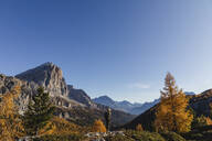 Female hiker hiking at Dolomites Alps, Cortina, Italy - MRAF00428