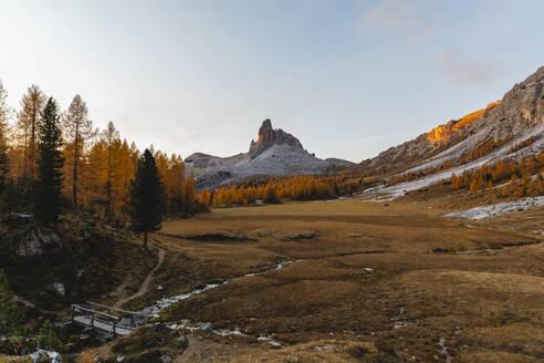 Autumn mountain landscape at the morning light, Dolomites, Cortina, Italy - MRAF00437