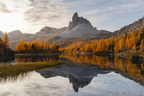 Autumnal mountain landscape reflected in the lake, Dolomites, Cortina, Italy - MRAF00443