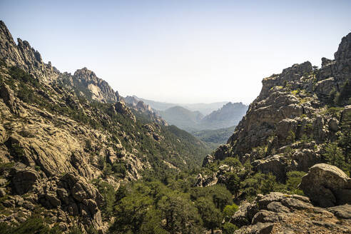 View to valley, Aiguilles de Bavella, Corse-du-Sud, Corsica, France - MSUF00010