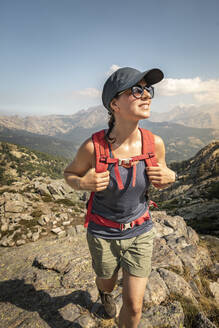 Female hiker during hike, Haute-Corse, Corsica, France - MSUF00046