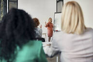 Businesswoman leading a presentation at flip chart in conference room - ZEDF02722
