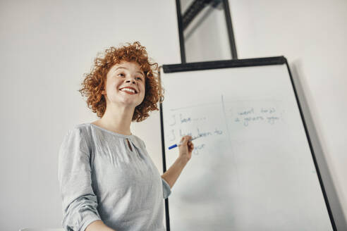 Smiling businesswoman leading a presentation at flip chart in conference room - ZEDF02845