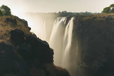 View of Victoria Falls at sunset, Zimbabwe - VEGF00870