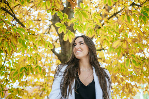 Smiling woman standing under autumnal tree - KIJF02843