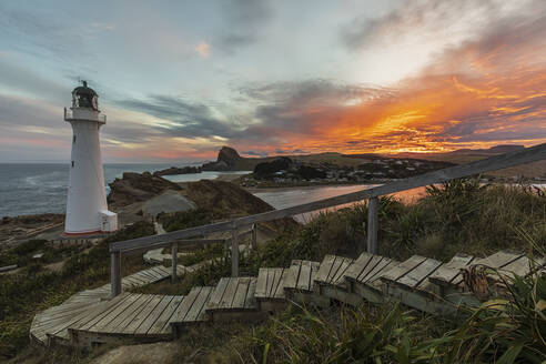 Lighthouse at sunset, Castlepoint, New Zealand - FOF11259