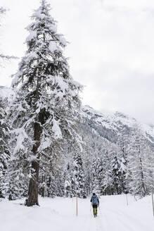 Hiker walking in a snowy forest, Engadin, Switzerland - MRAF00460