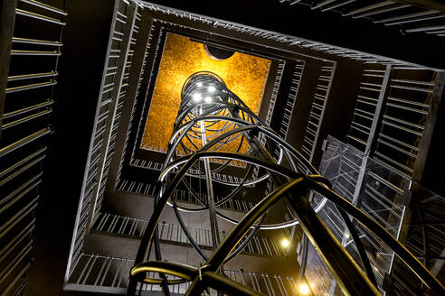 Czech Republic, Prague, Low angle view of elevator inside Old Town Hall - YRF00223