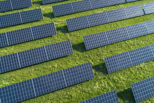Bavaria, Germany, Rows of solar panels arranged on grass - RUEF02384