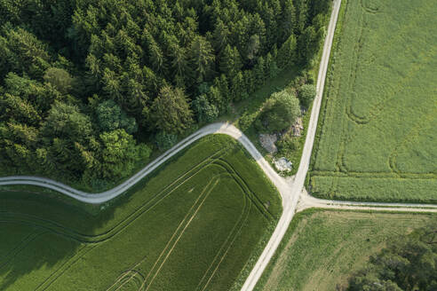Germany, Bavaria, Aerial view of country roads intersecting between green countryside fields - RUEF02405
