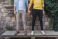 Crop view of gay couple standing hand in hand on a bench - AFVF04328
