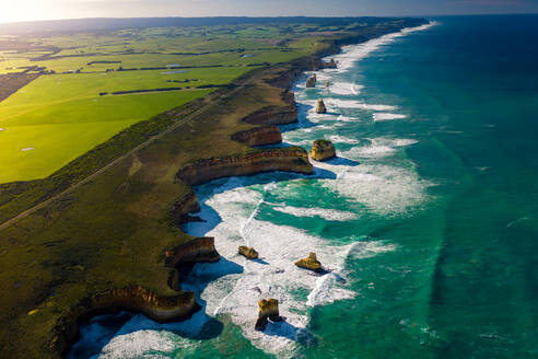 Aerial view of Great Ocean Road clifts in Australia. - AAEF05747