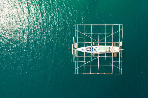 Aerial view of a traditional fishing boat at Komodo National Park, Indonesia. - AAEF05822