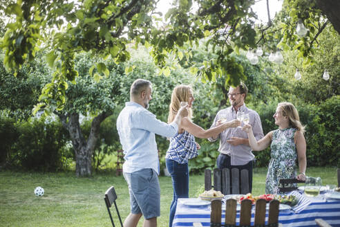 Happy friends clinking wine glass while standing in backyard during weekend party - MASF15018