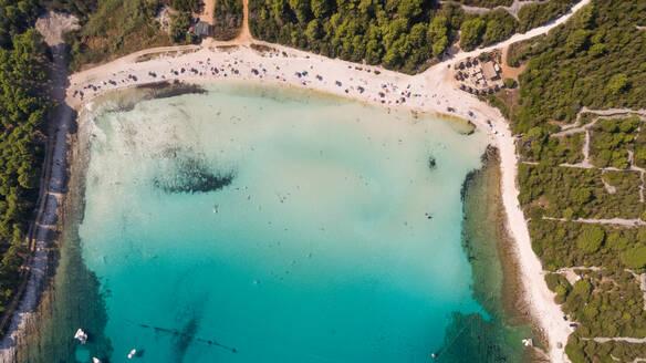 Aerial view of transparent water at Sakarun beach, Dugi Otok island, Croatia. - AAEF05941