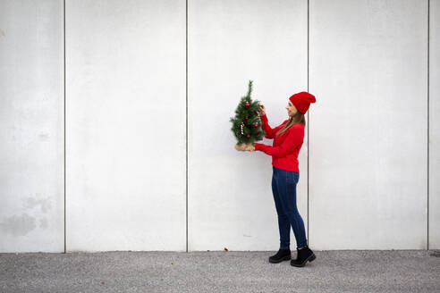 Woman wearing red pullover and wolly hat, holding artificial Christmas tree in front of a wall - HMEF00683