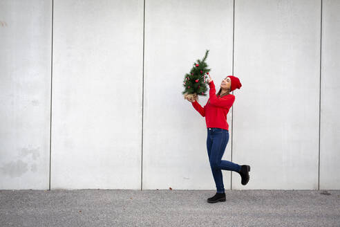 Woman wearing red pullover and wolly hat, holding artificial Christmas tree in front of a wall - HMEF00686
