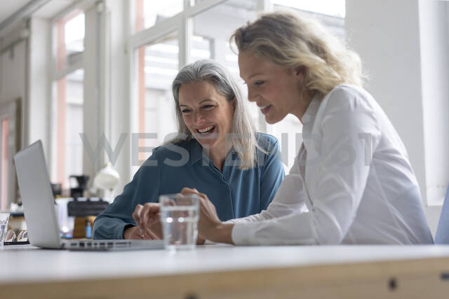 Two happy businesswomen using laptop at desk in office together - MOEF02667 - Robijn Page/Westend61