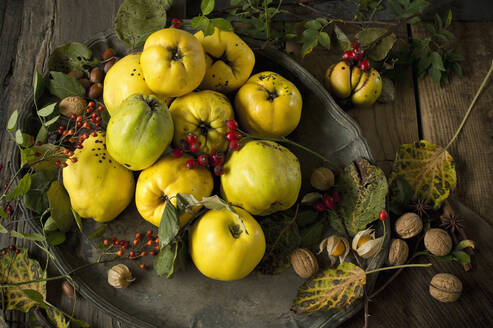 Bowl of fresh quinces, winter cherries, rose hips, walnuts, hazelnuts, star anise and cinnamon sticks - ASF06551