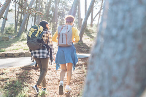 Young women friends with backpacks hiking in sunny woods - CAIF23600