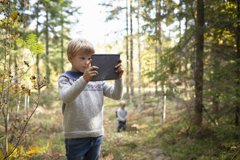 Boy taking photograph of forest, brother following behind - CUF53712