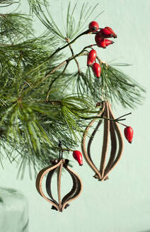 Leather Christmas ornaments on pine twig with red rosehips - GISF00490