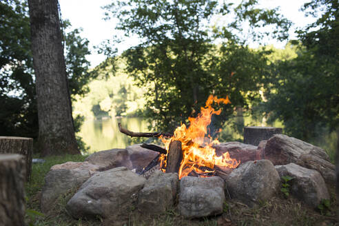 Close-up of campfire in forest - CAVF70863