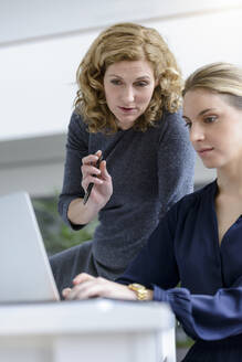 Two women working on laptop in office - BMOF00136