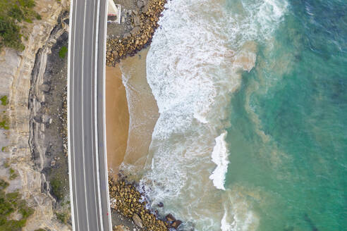 Aerial view of road crossing coastal line at New South Wales, Australia - AAEF06094