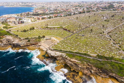 Aerial view of Waverley Cemetery at water edge, Sydney. Australia. - AAEF06106
