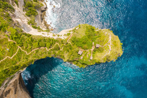 Aerial view above of Thousand Islands Viewpoint cliff, Indonesia. - AAEF06193