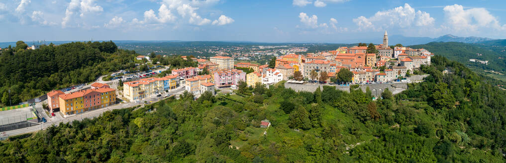 Panoramic aerial view of Labin city surrounded by nature, Istria, Croatia. - AAEF06238