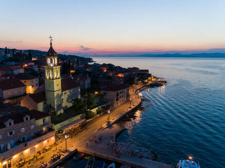 Aerial view of Sutivan church tower during the night, Croatia. - AAEF06262