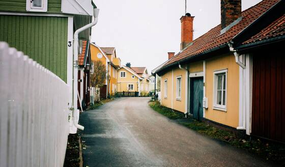 Traditional Swedish houses on a Traditional Swedish town in Sweden - CAVF71951