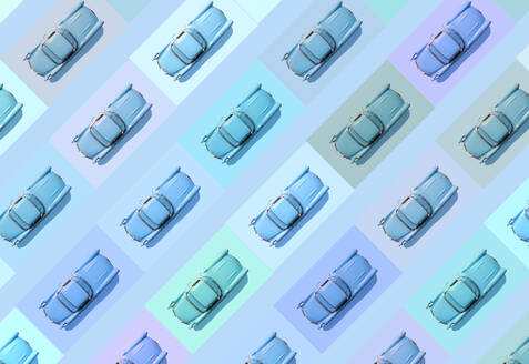 Vintage blue cars pattern on pastel blue background - GEMF03359