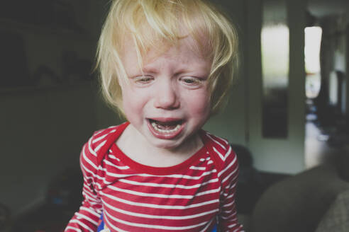 Portrait of crying toddler girl - IHF00220