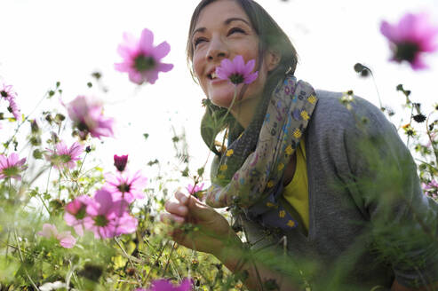 Portrait of women smelling on wild flower, flower meadow - ECPF00791