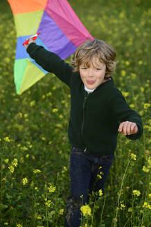 Boy flying a kite on a meadow - ECPF00824