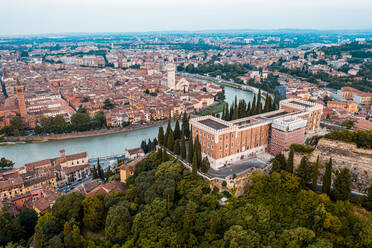Italy, Veneto, aerial view of Verona and Adige river - DAWF01036