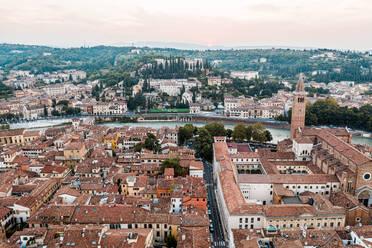 Italy, Veneto, aerial view of Verona and Adige river - DAWF01042