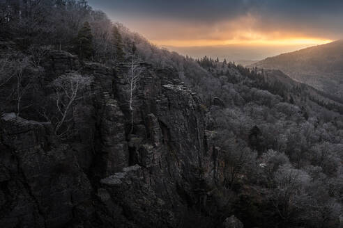 Sunrise at Battert rock in winter, Baden-Baden, Germany - MSUF00114