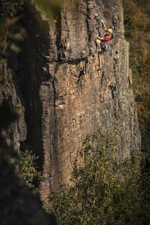 Man climbing at Battert rock, Baden-Baden, Germany - MSUF00120