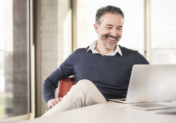 Smiling mature businessman sitting at desk in office using laptop - UUF20006