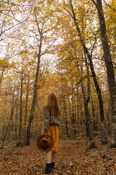 Back view of fashionable redheaded young woman in autumnal forest - AFVF04888