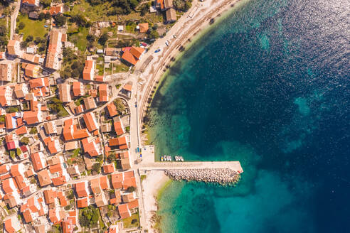 Aerial view above of Unije coastal city during the summer, Croatia. - AAEF06366