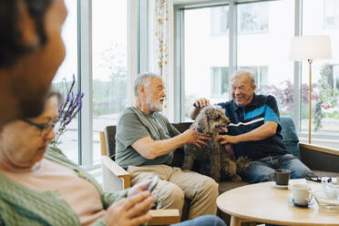 Smiling senior men stroking dog sitting on sofa against window at elderly nursing home - MASF16255