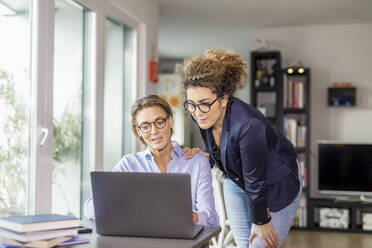Two businesswomen with laptop on table at home - FMKF06079